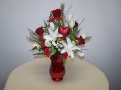Red and White Valentine's Arr Red Vase Arrangement