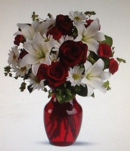 Red and white  Vase in Hoxie, KS | Cressler Creations & Gifts
