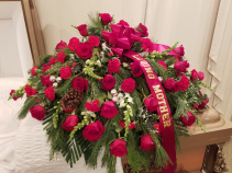 Red and White Winter Casket Spray