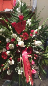 Red and White Wisconsin Badger Floral Spray