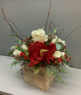 Red and white with Christmas greens and sticks in  white wood box silk flower arrangement (ARTIFICIAL)