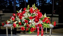 Red and White with love Beautiful Casket Spray