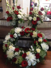 Red and White wreath and matching vases sympathy wreath and matching vase
