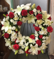 Red and White Wreath Funeral Wreath
