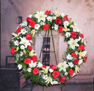 Red and White Wreath Standing Spray