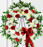 Red and White Wreath Tribute Standing Spray