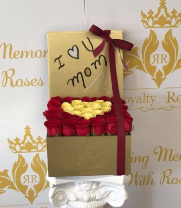 Red and Yellow heart box Gold box of Roses