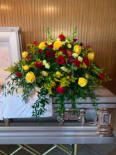 Red and yellow roses  Casket piece