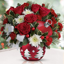Red Ball Candy-Cookie Jar LOCAL ONLY Christmas Arrangement