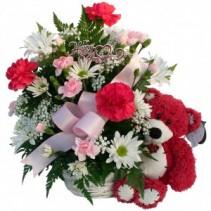Loving  Bear Basket Valentines Arrangement
