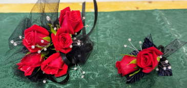 Red, Black & Bling Prom Corsage and Boutonniere Set