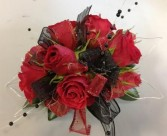 Red & Black Jazz Corsage prom