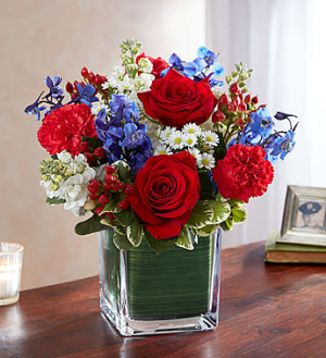 Red Bright and Blue Vase in Franklin, IN | COFFMAN'S FLOWER STUDIO