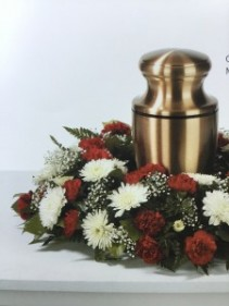 Red carnations and white mums Urn arrangement