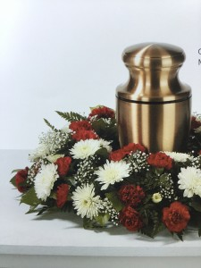 Red carnations and white mums urn arrangement in immokalee fl b red carnations and white mums urn arrangement mightylinksfo