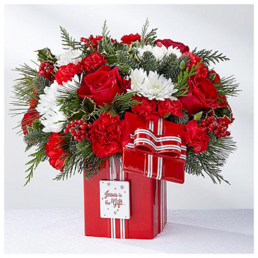 Red Ceramic Present All Around Arrangement