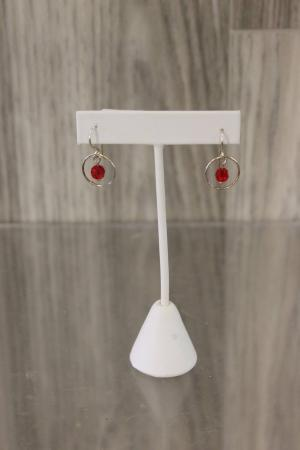 Red Charm Hoop Earrings