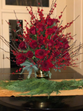 RED CHRISTMAS ARRANGEMENT ELEGANT AND MIXTURE FLOWERS