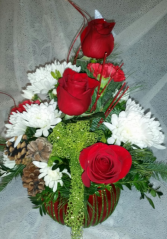 RED CHRISTMAS BOWL RED ROSES & WHITE MUMS