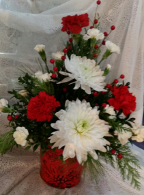 RED CHRISTMAS TIN RED & WHITE FLOWERS