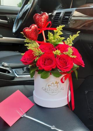 Red color of my heart  Velvet Flower Box