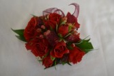 red corsage wrist corsage