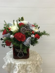 Red Cube Arrangment w/ Ornament