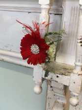 Red Daisy with Rose Wrist Corsage