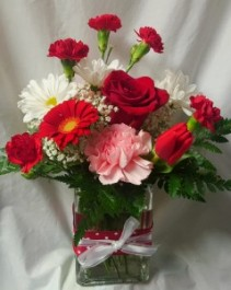 """Valentine Red delight"" Cute rectangular vase with red/ white polka dot bow detail and red and white flowers!! Valentine Pic!"