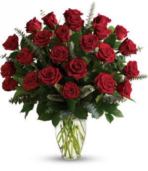 Red Eternal Love Two Dozen Rose Arrangement in Tulsa, OK | THE WILD ORCHID FLORIST