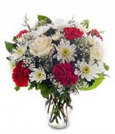 Red Floral Bliss vase arrangement