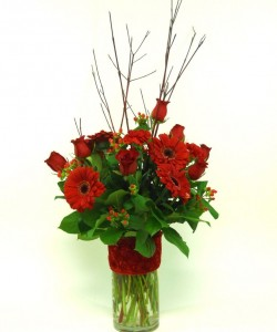 Passionate Reds Mixed Vase Bouquet in Port Stanley, ON | FLOWERS BY ROSITA