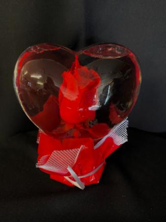 Red Fresh Rose In A Heart Glass Globe