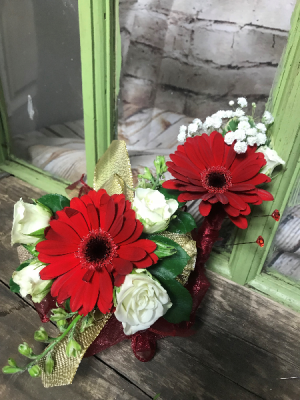 Red Gerber Daisy Corsage corsage in Wilkes Barre, PA | Kelly Ann's Floral