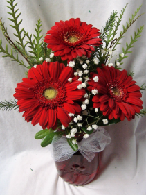 RED GERBERA BRIGHTS IN RED MASON JAR!!
