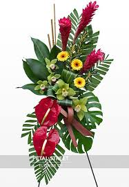 RED GINGER AND RED ANTHIRIUM SPRAY STANDING FUNERAL PC ON A 6' STAND
