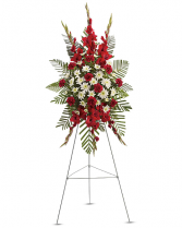 Red Glads, Carn and Dasie spray Sympathy Easel