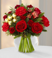 Red & Gold Holiday Bowl Arrangement