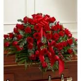 Red Half Roses Casket Flowers