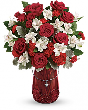 Red Haute Vase Arrangement in Warrington, PA | ANGEL ROSE FLORIST INC.