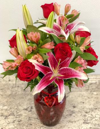 Red Heart Band Lily Vase Arrangement