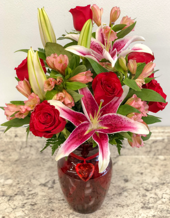 Red Heart Band Lily Vase Arrangement