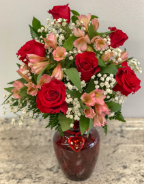 Red Heart Band Rose Vase Arrangement