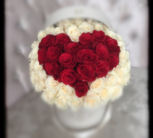 Red Heart Rose Box bouquet **FREE BOX OF CHOCOLATE** in Vancouver, BC | ARIA FLORIST