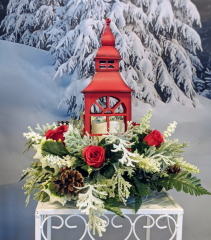Red Holiday Lantern Centerpiece