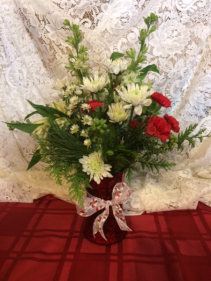 Red Holiday Vase