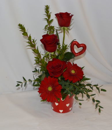 RED HOT HEART Fresh Arrangement