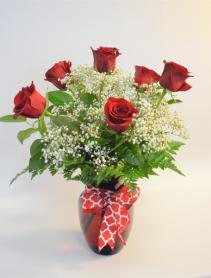 Red Hot  Half Dozen Roses