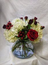 Red Hot Romance A beautiful, lush arrangement including Hydrangea and Red Roses