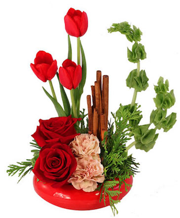 Red Hot Roses & Tulips Flower Arrangement